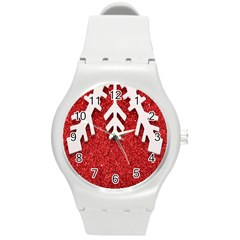 Macro Photo Of Snowflake On Red Glittery Paper Round Plastic Sport Watch (M)