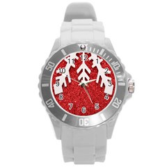 Macro Photo Of Snowflake On Red Glittery Paper Round Plastic Sport Watch (l)
