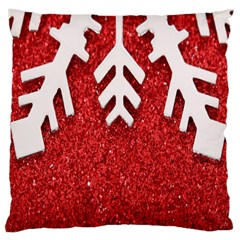 Macro Photo Of Snowflake On Red Glittery Paper Large Cushion Case (Two Sides)