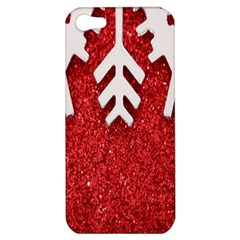 Macro Photo Of Snowflake On Red Glittery Paper Apple iPhone 5 Hardshell Case