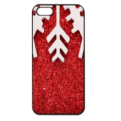 Macro Photo Of Snowflake On Red Glittery Paper Apple iPhone 5 Seamless Case (Black)
