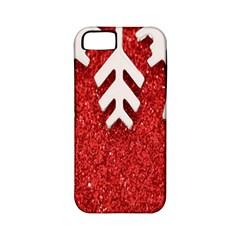 Macro Photo Of Snowflake On Red Glittery Paper Apple Iphone 5 Classic Hardshell Case (pc+silicone)