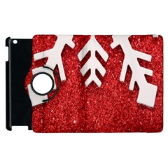 Macro Photo Of Snowflake On Red Glittery Paper Apple iPad 2 Flip 360 Case