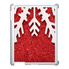 Macro Photo Of Snowflake On Red Glittery Paper Apple Ipad 3/4 Case (white)
