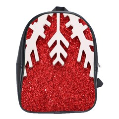 Macro Photo Of Snowflake On Red Glittery Paper School Bags (XL)