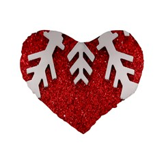 Macro Photo Of Snowflake On Red Glittery Paper Standard 16  Premium Heart Shape Cushions