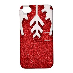 Macro Photo Of Snowflake On Red Glittery Paper Apple iPhone 4/4S Hardshell Case with Stand