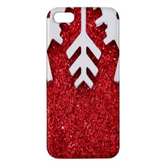 Macro Photo Of Snowflake On Red Glittery Paper Apple iPhone 5 Premium Hardshell Case