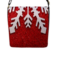 Macro Photo Of Snowflake On Red Glittery Paper Flap Messenger Bag (l)
