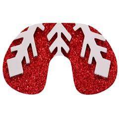Macro Photo Of Snowflake On Red Glittery Paper Travel Neck Pillows