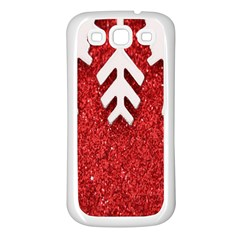 Macro Photo Of Snowflake On Red Glittery Paper Samsung Galaxy S3 Back Case (white)