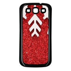 Macro Photo Of Snowflake On Red Glittery Paper Samsung Galaxy S3 Back Case (black)