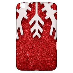 Macro Photo Of Snowflake On Red Glittery Paper Samsung Galaxy Tab 3 (8 ) T3100 Hardshell Case