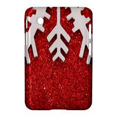 Macro Photo Of Snowflake On Red Glittery Paper Samsung Galaxy Tab 2 (7 ) P3100 Hardshell Case