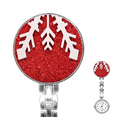 Macro Photo Of Snowflake On Red Glittery Paper Stainless Steel Nurses Watch