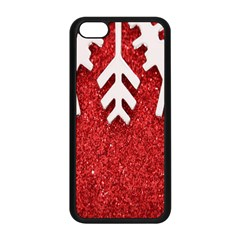 Macro Photo Of Snowflake On Red Glittery Paper Apple iPhone 5C Seamless Case (Black)