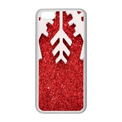 Macro Photo Of Snowflake On Red Glittery Paper Apple iPhone 5C Seamless Case (White)