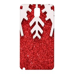 Macro Photo Of Snowflake On Red Glittery Paper Samsung Galaxy Note 3 N9005 Hardshell Back Case