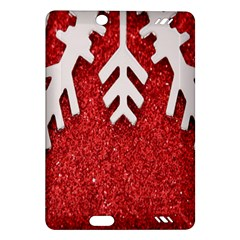 Macro Photo Of Snowflake On Red Glittery Paper Amazon Kindle Fire HD (2013) Hardshell Case