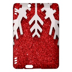 Macro Photo Of Snowflake On Red Glittery Paper Kindle Fire Hdx Hardshell Case