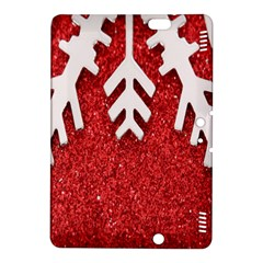 Macro Photo Of Snowflake On Red Glittery Paper Kindle Fire HDX 8.9  Hardshell Case
