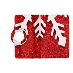 Macro Photo Of Snowflake On Red Glittery Paper Kindle Fire HD (2013) Flip 360 Case