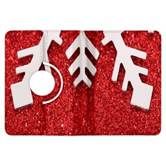 Macro Photo Of Snowflake On Red Glittery Paper Kindle Fire Hdx Flip 360 Case