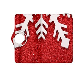 Macro Photo Of Snowflake On Red Glittery Paper Kindle Fire HDX 8.9  Flip 360 Case