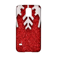 Macro Photo Of Snowflake On Red Glittery Paper Samsung Galaxy S5 Hardshell Case