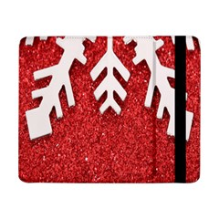 Macro Photo Of Snowflake On Red Glittery Paper Samsung Galaxy Tab Pro 8 4  Flip Case