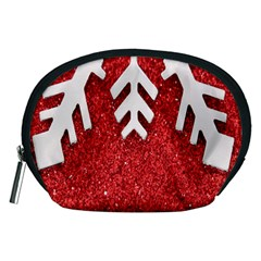 Macro Photo Of Snowflake On Red Glittery Paper Accessory Pouches (Medium)