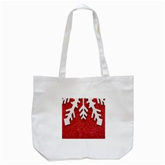 Macro Photo Of Snowflake On Red Glittery Paper Tote Bag (white)