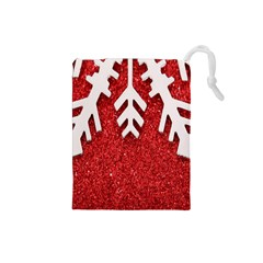 Macro Photo Of Snowflake On Red Glittery Paper Drawstring Pouches (Small)
