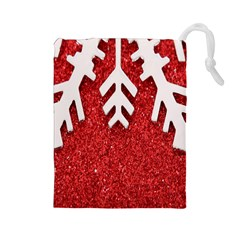 Macro Photo Of Snowflake On Red Glittery Paper Drawstring Pouches (Large)