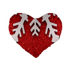 Macro Photo Of Snowflake On Red Glittery Paper Standard 16  Premium Flano Heart Shape Cushions
