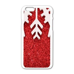 Macro Photo Of Snowflake On Red Glittery Paper Apple iPhone 6/6S White Enamel Case