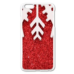 Macro Photo Of Snowflake On Red Glittery Paper Apple iPhone 6 Plus/6S Plus Enamel White Case