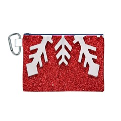 Macro Photo Of Snowflake On Red Glittery Paper Canvas Cosmetic Bag (m)