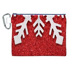 Macro Photo Of Snowflake On Red Glittery Paper Canvas Cosmetic Bag (XXL)