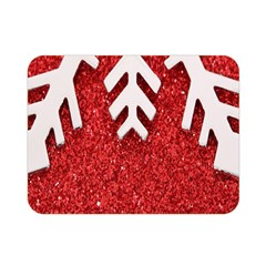 Macro Photo Of Snowflake On Red Glittery Paper Double Sided Flano Blanket (Mini)
