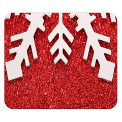 Macro Photo Of Snowflake On Red Glittery Paper Double Sided Flano Blanket (Small)