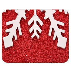 Macro Photo Of Snowflake On Red Glittery Paper Double Sided Flano Blanket (Medium)
