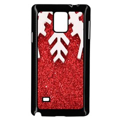 Macro Photo Of Snowflake On Red Glittery Paper Samsung Galaxy Note 4 Case (Black)