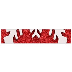 Macro Photo Of Snowflake On Red Glittery Paper Flano Scarf (Small)