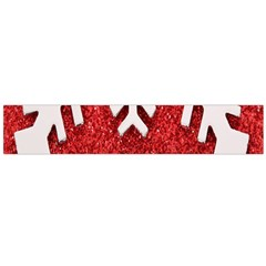 Macro Photo Of Snowflake On Red Glittery Paper Flano Scarf (large)