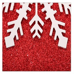 Macro Photo Of Snowflake On Red Glittery Paper Large Satin Scarf (square)