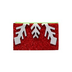 Macro Photo Of Snowflake On Red Glittery Paper Cosmetic Bag (XS)
