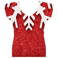Macro Photo Of Snowflake On Red Glittery Paper Women s V-Neck Cap Sleeve Top