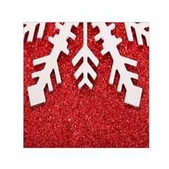 Macro Photo Of Snowflake On Red Glittery Paper Small Satin Scarf (square)