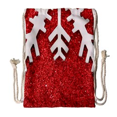 Macro Photo Of Snowflake On Red Glittery Paper Drawstring Bag (Large)